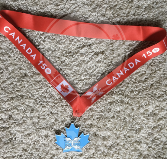 x warrior canada 150 x run medal light blue